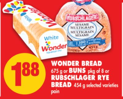 Wonder Bread - 675 g or Buns - Pkg of 8 or Rubschlager Rye Bread - 454 g