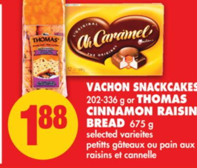 Vachon Snackcakes - 202-336 G Or Thomas Cinnamon Raisin Bread