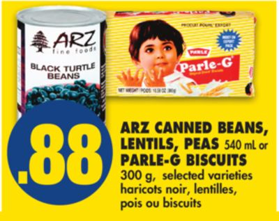 Arz Canned Beans - Lentils - Peas 540 mL or Parle-g Biscuits 300 g