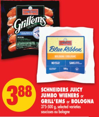 Schneiders Juicy Jumbo Wieners or Grill'ems or Bologna - 375-500 g