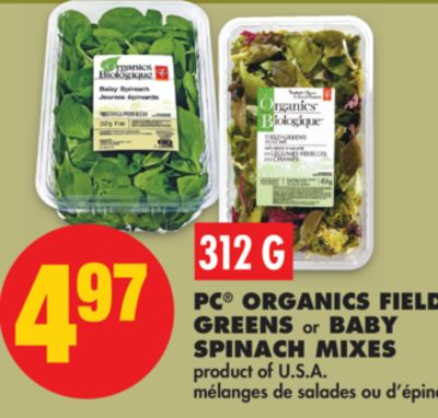 PC Organics Field Greens or Baby Spinach Mixes - 312 G