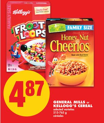 General Mills or Kellogg's Cereal - 515-765 g