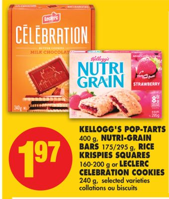 Kellogg's Pop-tarts 400 g - Nutri-grain Bars 175/295 g - Rice Krispies Squares 160-200 g or Leclerc Celebration Cookies 240 g