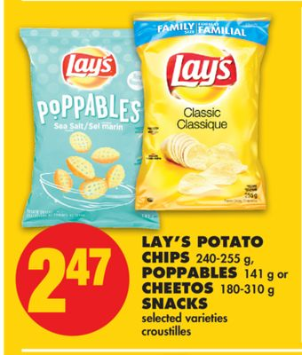 Lay's Potato Chips 240-255 g - Poppables 141 g or Cheetos 180-310 g