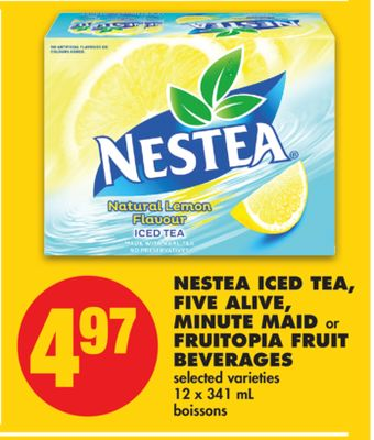 Nestea Iced Tea - Five Alive - Minute Maid or Fruitopia Fruit Beverages - 12 X 341 mL