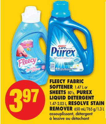 Fleecy Fabric Softener 1.47 L or Sheets 80's - Purex Liquid Detergent 1.47-2.03 L - Resolve Stain Remover 650 Ml/765 G/1.3 L