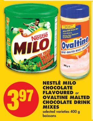 Nestlé Milo Chocolate Flavoured or Ovaltine Malted Chocolate Drink Mixes - 400 g