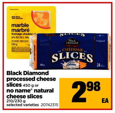 Black Diamond Processed Cheese Slices - 450 G Or No Name Natural Cheese Slices - 210/230 G