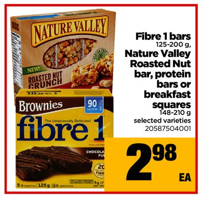 Fibre 1 Bars - 125-200 g - Nature Valley Roasted Nut Bar - Protein Bars Or Breakfast Squares - 148-210 g