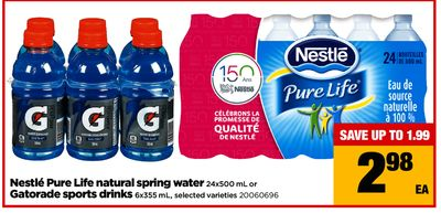 Nestlé Pure Life Natural Spring Water - 24x500 mL or Gatorade Sports Drinks - 6x355 M