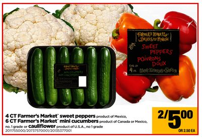 4 Ct Farmer's Market Sweet Peppers - 6 Ct Farmer's Market Mini Cucumbers Or Cauliflower