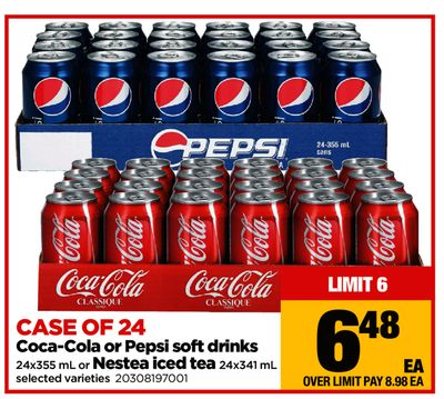 Coca-cola Or Pepsi Soft Drinks - 24x355 mL Or Nestea Iced Tea - 24x341 mL - Case Of 24