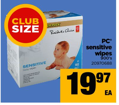 PC Sensitive Wipes - Club Size - 900's