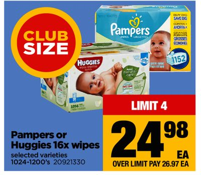 Pampers Or Huggies 16x Wipes - 1024-1200's