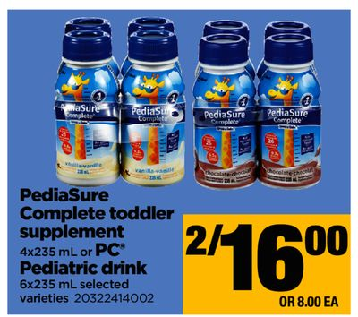 Pediasure Complete Toddler Supplement - 4x235 mL or PC Pediatric Drink - 6x235 mL