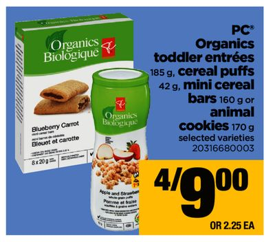 PC Organics Toddler Entrées 185 g - Cereal Puffs 42 g - Mini Cereal Bars 160 g or Animal Cookies 170 g