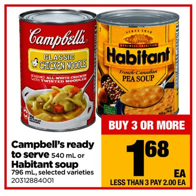Campbell's Ready To Serve - 540 mL or Habitant Soup - 796 mL