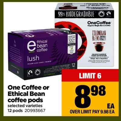 One Coffee Or Ethical Bean Coffee PODS - 12 Pods