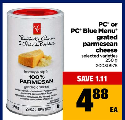 PC Or PC Blue Menu Grated Parmesean Cheese - 250 g