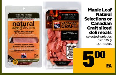 Maple Leaf Natural Selections Or Canadian Craft Sliced Deli Meats - 125-175 g