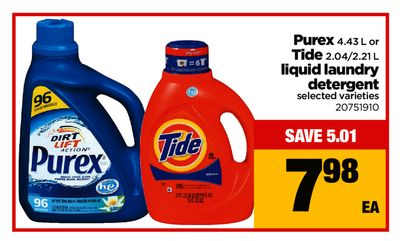 Purex - 4.43 L Or Tide - 2.04/2.21 L Liquid Laundry Detergent
