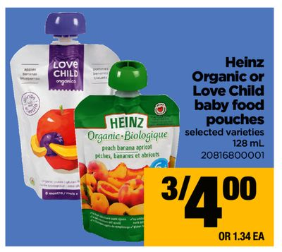Heinz Organic Or Love Child Baby Food Pouches - 128 mL