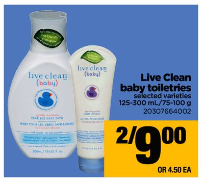 Live Clean Baby Toiletries - 125-300 Ml/75-100 g