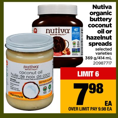 Nutiva Organic Buttery Coconut Oil Or Hazelnut Spreads - 369 G/414 mL