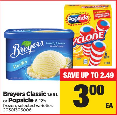 Breyers Classic - 1.66 L Or Popsicle - 6-12's