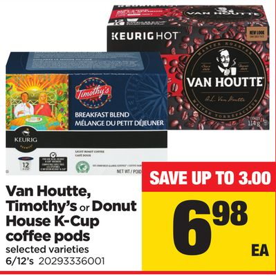 Van Houtte - Timothy's Or Donut House K-cup Coffee PODS - 6/12's