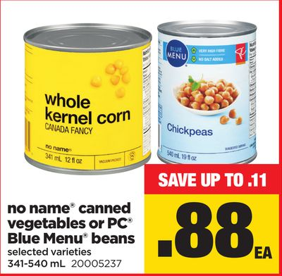 No Name Canned Vegetables Or PC Blue Menu Beans - 341-540 mL