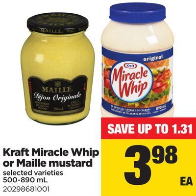 Kraft Miracle Whip Or Maille Mustard - 500-890 mL