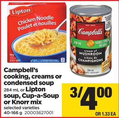 Campbell's Cooking - Creams Or Condensed Soup - 284 mL Or Lipton Soup - Cup-a-soup Or Knorr Mix - 40-166 g