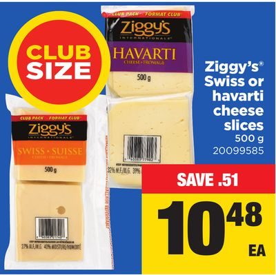 Ziggy's Swiss Or Havarti Cheese Slices - 500 g