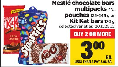 Nestlé Chocolate Bars Multipacks 4's - Pouches - 135-246 g or Kit Kat Bars - 170 g