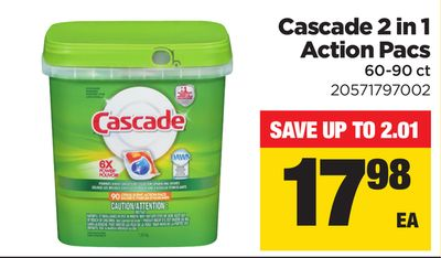 Cascade 2 In 1 Action Pacs - 60-90 Ct