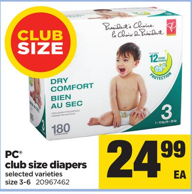 PC Club Size Diapers - Size 3-6