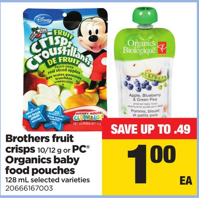 Brothers Fruit Crisps 10/12 g Or PC Organics Baby Food Pouches - 128 mL