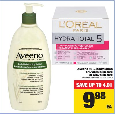 Aveeno 532 mL Body Lotion or L'oréal Skin Care or Olay Skin Care