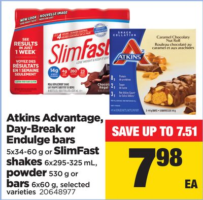 Atkins Advantage - Day-break Or Endulge Bars 5x34-60 G Or Slimfast Shakes 6x295-325 Ml - Powder 530 G Or Bars 6x60 G