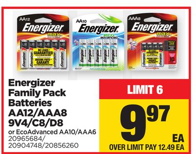 Energizer Family Pack Batteries Aa12/aaa8 9v4/c8/d8