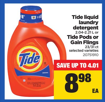 Tide Liquid Laundry Detergent .2.04-2.21 L Or Tide PODS Or Gain Flings - 23/31 Ct