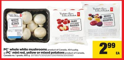 PC Whole White Mushrooms - 454 G Pkg Or PC Mini Red - Yellow Or Mixed Potatoes - 680 G