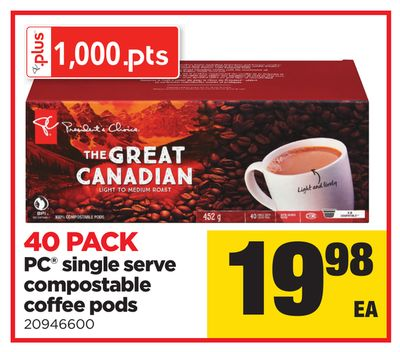 PC Single Serve Compostable Coffee PODS - 40 Pack