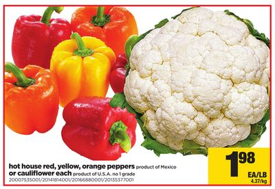 Hot House Red - Yellow - Orange Peppers Product Of Mexico Or Cauliflower Each