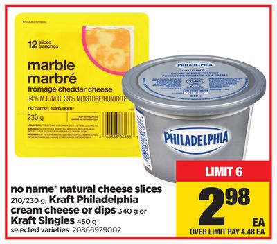 Kraft Philadelphia Cream Cheese Or Dips - 340 G Or Kraft Singles No Name Natural Cheese Slices - 450 g