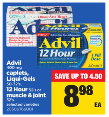 Advil 400 Mg Caplets - Liqui-gels - 50-72's - 12 Hour 52's Or Muscle & Joint - 32's