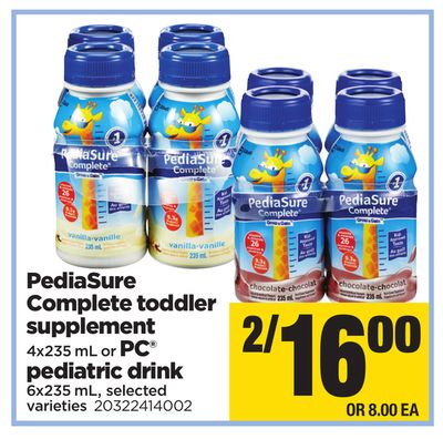 Pediasure Complete Toddler Supplement 4x235 ml Or PC Pediatric Drink 6x235 mL