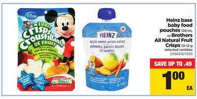 Heinz Base Baby Food Pouches - 128 Ml Or Brothers All Natural Fruit Crisps - 10-12 G