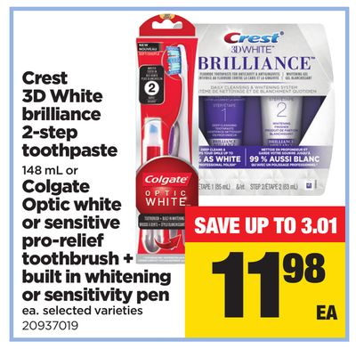 Crest 3D White Brilliance 2-step Toothpaste - 148 Ml Or Colgate Optic White Or Sensitive Pro-relief Toothbrush + Built In Whitening Or Sensitivity Pen - Ea.